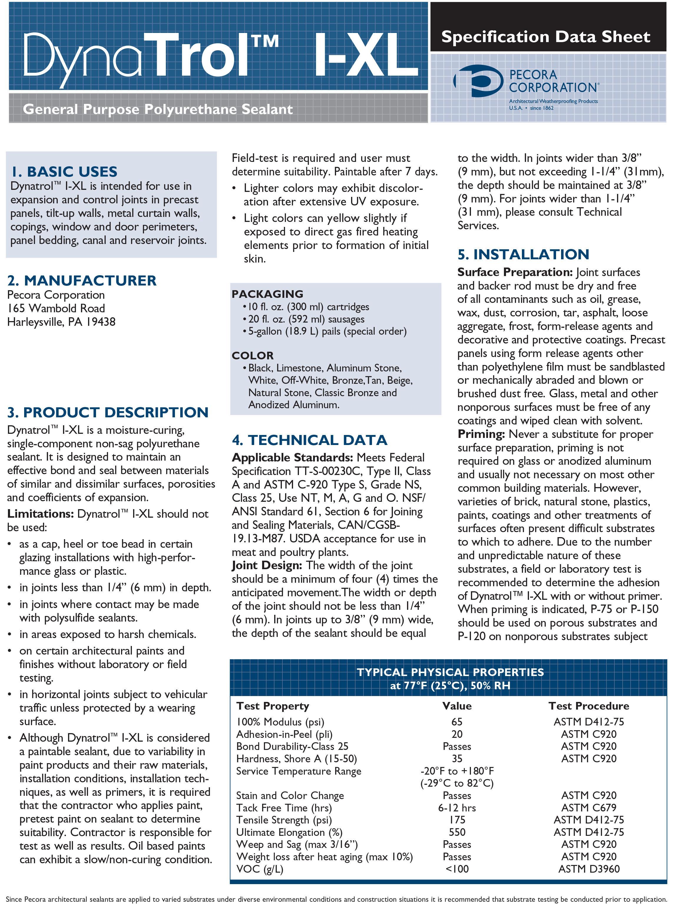 Pecora Dynatrol I-XL: Poly-Urethane Caulk and Sealant