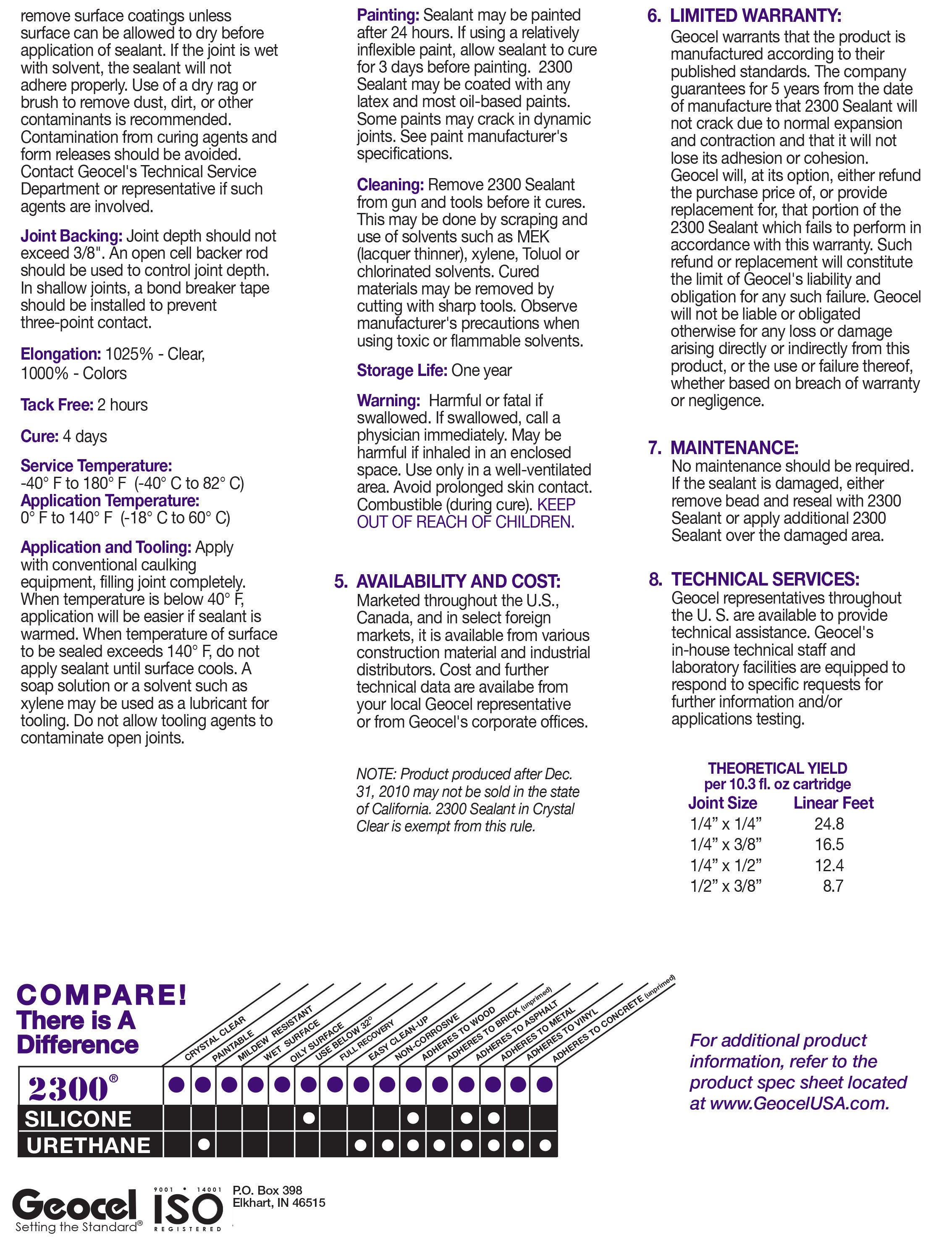 Geocel 2300 Construction Tripolymer Sealant - Chargar Corp